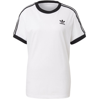 Textiel Dames T-shirts korte mouwen adidas Originals 3-Stripes T-shirt Wit / Zwart