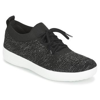 Schoenen Dames Lage sneakers FitFlop F SPORTY UBERKNIT SNEAKERS CRYSTAL Zwart
