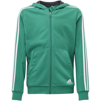 Textiel Jongens Trainings jassen adidas Performance Essentials 3-Stripes Hoodie Groen / Wit