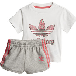 Textiel Meisjes Trainingspakken adidas Originals Short en T-shirt Set Wit / Meerkleurig