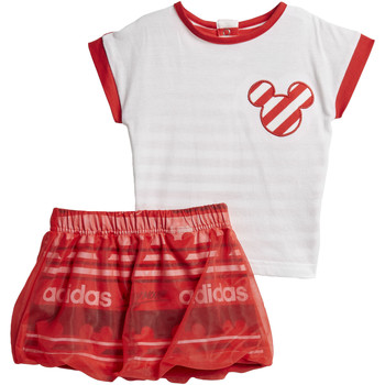 Textiel Meisjes Trainingspakken adidas Performance Disney The Mouse Rok Setje Wit / Rood