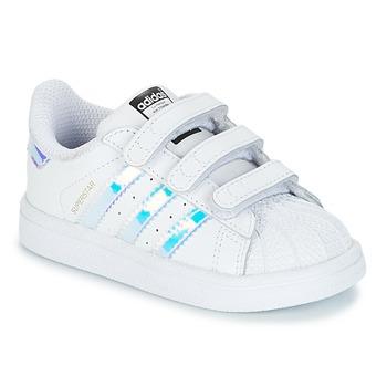 Schoenen Meisjes Lage sneakers adidas Originals SUPERSTAR CF I Wit / Zilver