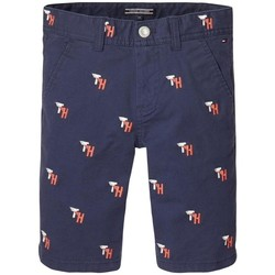 Textiel Jongens Korte broeken / Bermuda's Tommy Hilfiger TH EMBROIDERED CHINO SHORT Azul