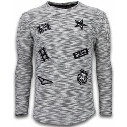 Textiel Heren Truien Enos Sweater Heren - Longsleeve - Long Fit  Sweater - Patches Biker S 38