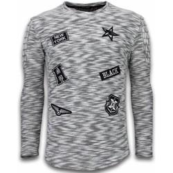 Textiel Heren Truien Enos Sweater Heren - Longsleeve - Long Fit  Sweater - Patches Biker S 38