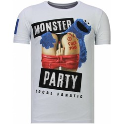 Textiel Heren T-shirts korte mouwen Local Fanatic Monster Party Rhinestone Wit