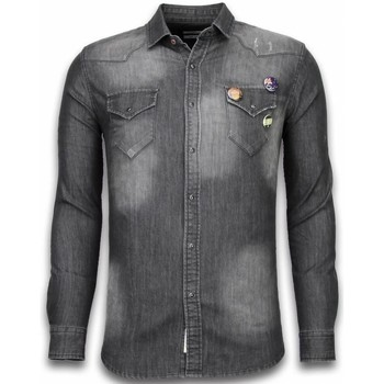 Textiel Heren Overhemden lange mouwen Bread & Buttons Denim Shirt - Spijkerblouse Slim Fit - 3 Buttons 35