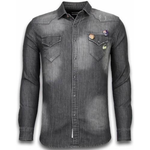 Textiel Heren Overhemden lange mouwen Bb Bread & Buttons Denim Spijkerblouse  Buttons Grijs