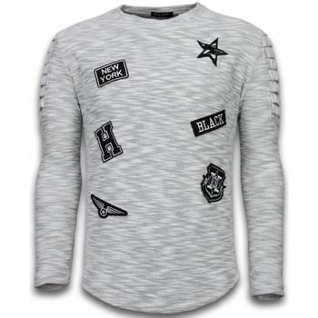 Textiel Heren Sweaters / Sweatshirts Enos Longsleeve Long Fit Patches Biker Sleeves Grijs