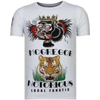 Textiel Heren T-shirts korte mouwen Local Fanatic McGregor Tattoo Rhinestone Wit