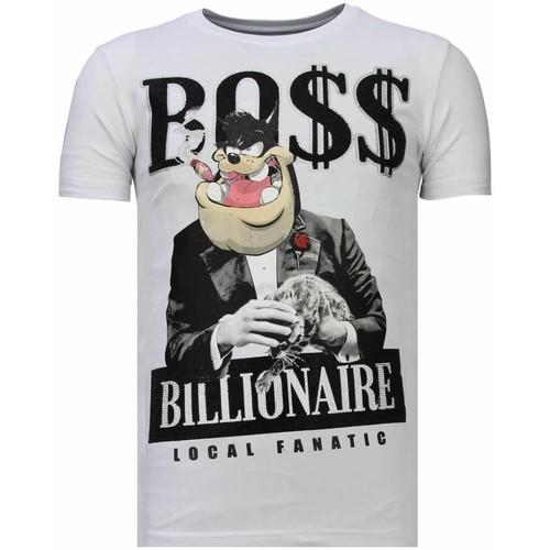 Textiel Heren T-shirts korte mouwen Local Fanatic Billionaire Boss Rhinestone Wit