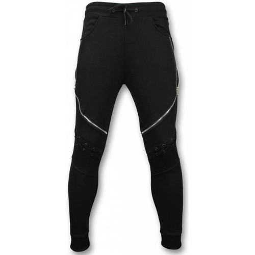 Casual Joggingbroek.Enos Casual Joggingbroek Biker Braided Zwart Textiel
