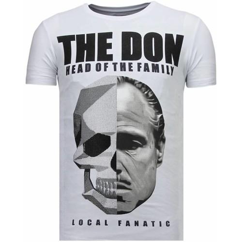 Textiel Heren T-shirts korte mouwen Local Fanatic The Don Skull Rhinestone Wit