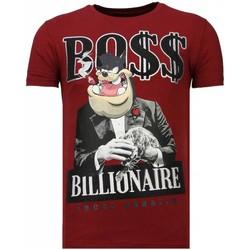 Textiel Heren T-shirts korte mouwen Local Fanatic Billionaire Boss - Rhinestone T-shirt Bordeaux