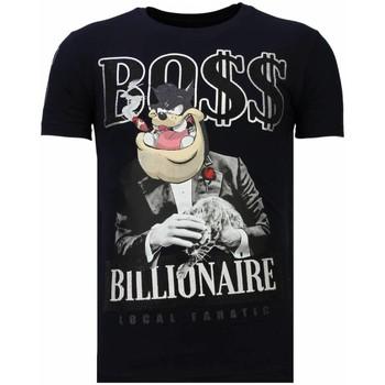 Textiel Heren T-shirts korte mouwen Local Fanatic Billionaire Boss - Rhinestone T-shirt Blauw