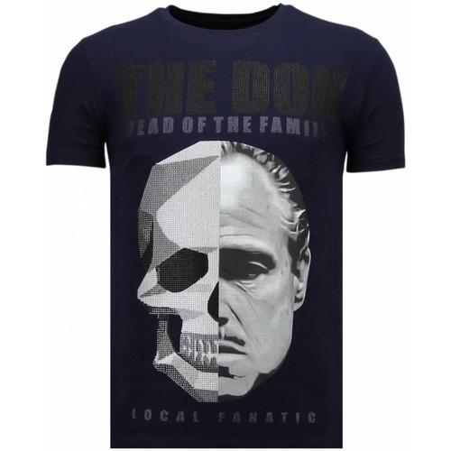 Textiel Heren T-shirts korte mouwen Local Fanatic The Don Skull Rhinestone Blauw
