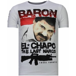 Textiel Heren T-shirts korte mouwen Local Fanatic Cocaine Cowboy Rhinestone Wit