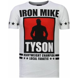 Textiel Heren T-shirts korte mouwen Local Fanatic Iron Mike Tyson Rhinestone Wit
