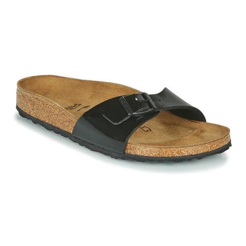 Schoenen Dames Leren slippers Birkenstock MADRID Zwart / Lak