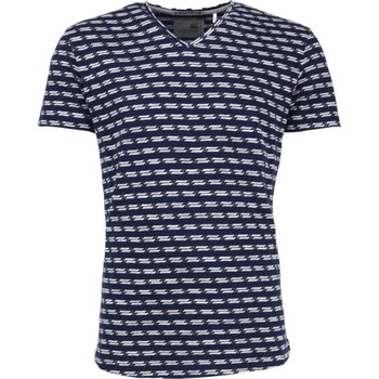 Textiel Heren T-shirts korte mouwen No Excess T-shirt s/sl, v-neck, jacquard stri night Blauw