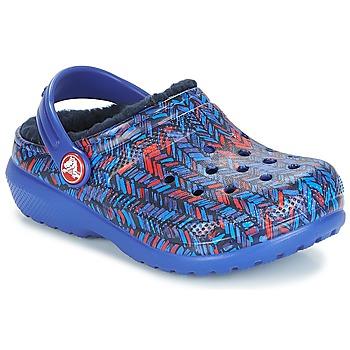 Schoenen Kinderen Klompen Crocs CLASSIC LINED GRAPHIC CLOG K Blauw
