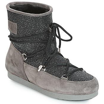 Schoenen Dames Snowboots Moon Boot FAR SIDE LOW SUEDE GLITTER Zwart / Grijs