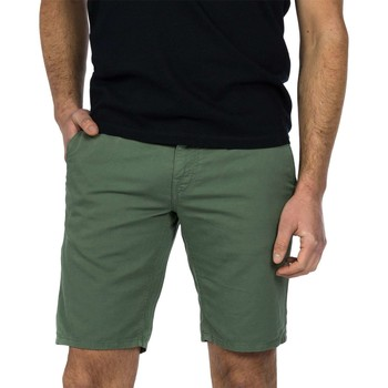 Textiel Heren Korte broeken / Bermuda's Cast Iron Cope chino short cotton linen laurel wreath Groen