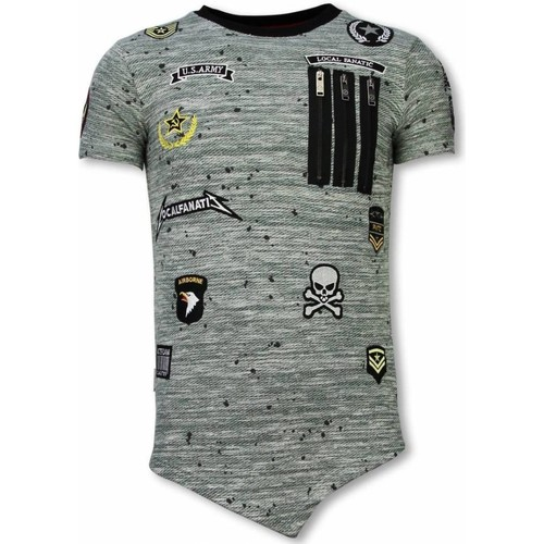 Textiel Heren T-shirts korte mouwen Local Fanatic Longfit Asymric Embroidery Patches US Army Groen