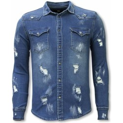 Textiel Heren Overhemden lange mouwen Diele & Co Denim Shirt - Slim Fit Damaged Allover 19