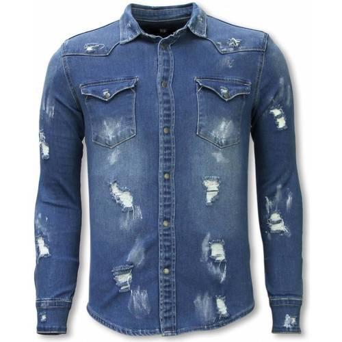 Textiel Heren Overhemden lange mouwen True Rise Denim Damaged Allover Blauw
