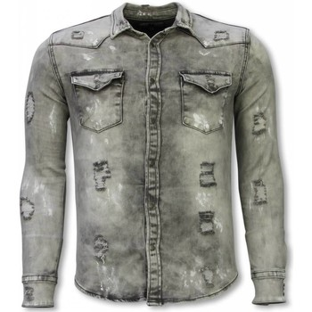 Textiel Heren Overhemden lange mouwen Diele & Co Denim Shirt - Slim Fit Damaged Allover 35