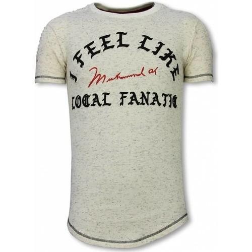 Textiel Heren T-shirts korte mouwen Local Fanatic Longfit I Feel Like Muhammad Beige