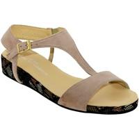 Schoenen Dames Sandalen / Open schoenen Brenda Zaro F2772 Fluweelroze beige
