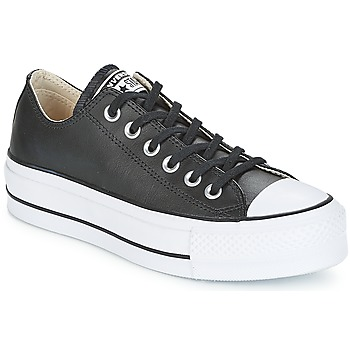 Schoenen Dames Lage sneakers Converse CHUCK TAYLOR ALL STAR LIFT CLEAN OX LEATHER Zwart / Wit