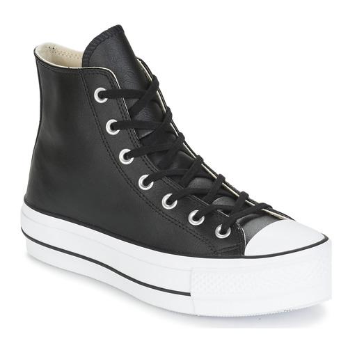 dcfe4269ac6 Schoenen Dames Hoge sneakers Converse CHUCK TAYLOR ALL STAR LIFT CLEAN  LEATHER HI Zwart