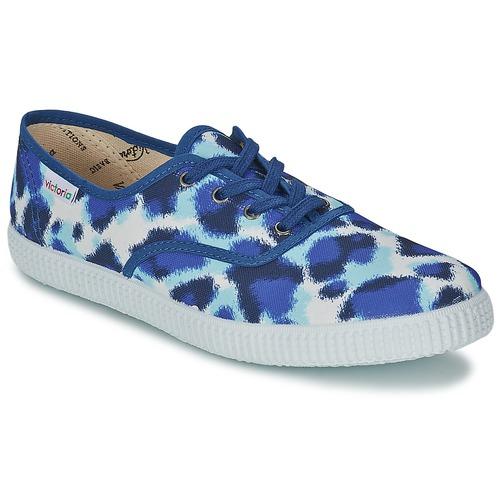 Schoenen Dames Lage sneakers Victoria INGLESA ESTAMP HUELLA TIGRE Blauw