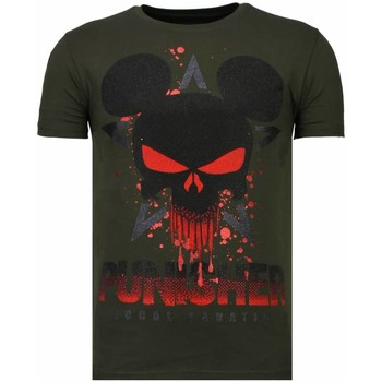 Textiel Heren T-shirts korte mouwen Local Fanatic Punisher Mickey - Rhinestone T-shirt Groen