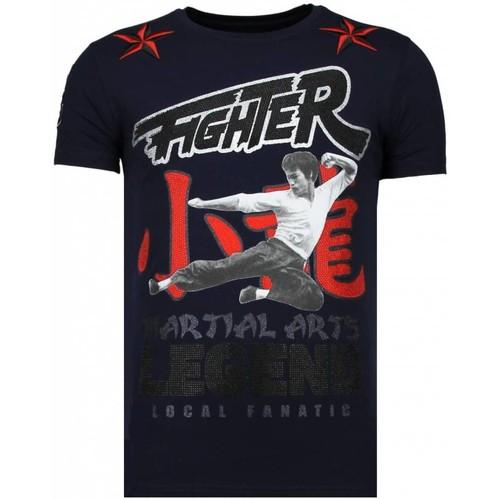Textiel Heren T-shirts korte mouwen Local Fanatic Fighter Legend Rhinestone Blauw