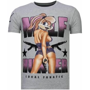 Textiel Heren T-shirts korte mouwen Local Fanatic Milf Hunter - Rhinestone T-shirt - Grijs