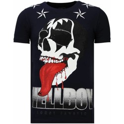 Textiel Heren T-shirts korte mouwen Local Fanatic Hellboy Rhinestone Blauw