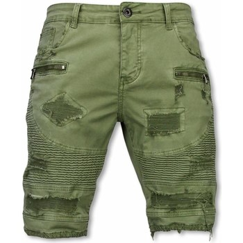 Textiel Heren Korte broeken / Bermuda's Enos Korte Broek - Slim Fit Damaged Biker Jeans H Zippers - Groen