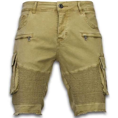 Textiel Heren Korte broeken / Bermuda's Enos Korte Broek Biker Pocket Jeans Beige