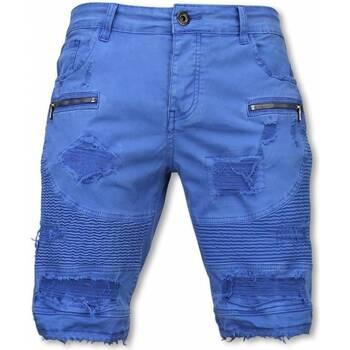 Textiel Heren Korte broeken / Bermuda's Enos Korte Broek - Slim Fit Damaged Biker Jeans H Zippers - Blauw