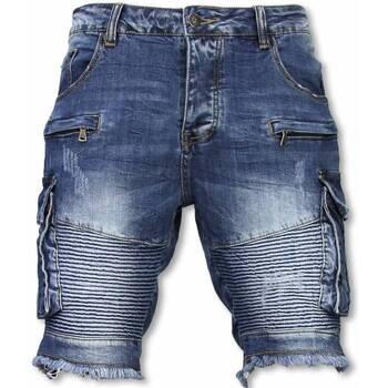 Textiel Heren Korte broeken / Bermuda's Enos Korte Broek - Slim Fit Biker Denim Pocket Jeans - Blauw