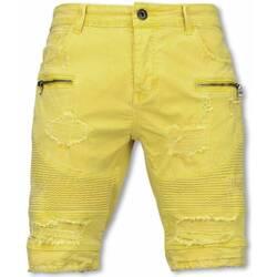 Textiel Heren Korte broeken / Bermuda's Enos Korte Broek - Slim Fit Damaged Biker Jeans H Zippers - Geel