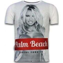 Textiel Heren T-shirts korte mouwen Local Fanatic Palm Beach Pamela Digital Rhinestone Wit