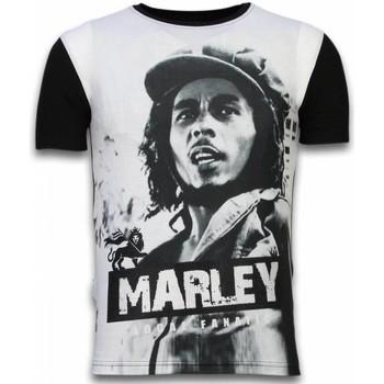 Textiel Heren T-shirts korte mouwen Local Fanatic Bob Marley Black And White - Digital Rhinestone T-shirt 38