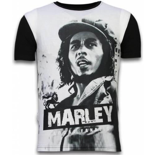 Textiel Heren T-shirts korte mouwen Local Fanatic Bob Marley Black And White Digital Rhinestone Zwart