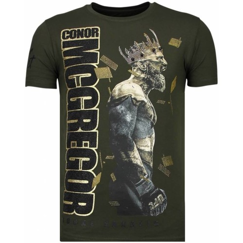 Textiel Heren T-shirts korte mouwen Local Fanatic Notorious King Conor McGregor Rhinestone Groen