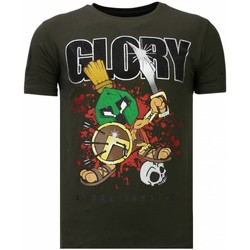 Textiel Heren T-shirts korte mouwen Local Fanatic Glory Martial Rhinestone Groen